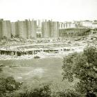 A semi-demolished Polo Grounds is shown in July 1964. It took a crew of workers nearly four months to complete the demolition, which began in April '64 with workmen clad in Giants jerseys tipping their hardhats as a wrecking ball -- painted like a baseball -- slammed into the famed stadium. The Polo Grounds Towers public housing project opened on the site in 1968.