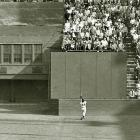 Willie Mays makes his iconic over-the-shoulder catch deep in center during the eighth inning of Game 1 of the 1954 World Series. The catch preserved a 2-2 tie and allowed the Giants, who swept the series, to win the game in the 10th inning.