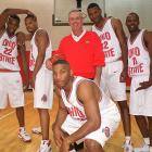 Michael Redd (left), George Reese, head coach Jim O'Brien,  Ken Johnson, Brian Brown (right) and Scoonie Penn pose during the team's Media Day in October 1999. The team finished with a 23-7 record, including a second-round tournament loss to Miami.