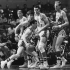 Steve Howell of Ohio State dribbles the ball past North Carolina's Bill Bunting in the first half of a 1968 national semifinal. The Tar Heels defeated the Buckeyes 80-66 before falling to UCLA in the final.