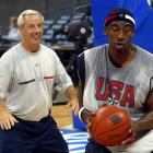 """UNC coach and Team USA assistant Roy Williams worked with Stoudemire during a training session for the U.S. Olympic team ahead of the 2004 Games in Athens. Team USA, dubbed the """"Nightmare Team"""" that year, lost to Argentina in the semifinals and came away with just a bronze medal."""