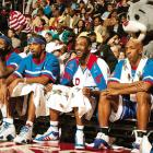 The 2006 East All-Star team, just chillin with the mascots.