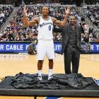 Gilbert Arenas on the right, and Gilbert Arenas In Wax on the left.