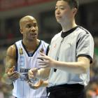 Marbury pleads his case to an official.