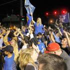 Kentucky fans took to the streets after the Wildcats' 67-59 win over Kansas for the program's eighth national title. #LexingtonPoliceBlotter was trending worldwide on Twitter for hours after the game. The Associated Press reported a car crashed into the patio area at a bar and grill where some people were dining. A police spokeswoman said people were arrested for charges such as criminal mischief, disorderly conduct, alcohol intoxication and setting fires.