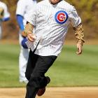 Everyone's favorite groundskeeper tested the bases before throwing out the first pitch on Opening Day at Wrigley Field.