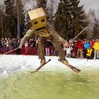 This intrepid boxhead  marked the seasonal transition from snow to water skiing at Silichi resort near Minsk.