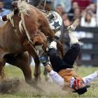 A gaucho becomes an ow-cho after being unseated by an unbroken horse. (FYI -- Broken horses are found on skid row...)