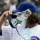 The Cubs reliever got creamed, but his team hung on to beat the Nationals, 4-3,  at Wrigley Field in Chicago.