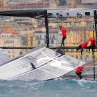 Just in time for the 3-D re-release of James Cameron's epic major motion picture, the sailors of Team Artemis Racing inadvertently re-enacted the sinking of the Titanic during the first fleet race off Naples, Italy.