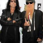 Sporting a wicked playoff beard, the ZZ Top axemeister mingled with what appears to be a zombie from the hit series  The Walking Dead,  at the Fourth Annual Revolver GoldenGods Award Show in Los Angeles..