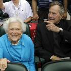 Bush league baseball: The former POTUS and his spouse took in the Astros' home opener against the Rockies on April 6.