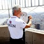 The Olympic gold medal diver visited the 86th floor observation deck of New York City's Empire State Building on April 17 to not, we hope, resume his old career but rather to mark the 100-day countdown to the London Games.