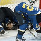 The Blues center brought up the rear as teammate Scott Nichol prepared to launch an attack on those wily San Jose Sharks during their NHL Western Conference quarterfinal playoff hockey game in St. Louis, Missouri.