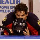The Florida Panthers forward was left to console his helmet after those pesty New Jersey Devils defeated his team, 3-2, in the second overtime of Game 7 of their first-round playoff series.