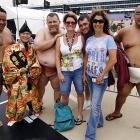 If you've got a halfway decent beer gut, you too can hold your own with US Sumo Federation wrestlers, as evidenced by this charming photograph taken at the Samsung Mobile 500 at Texas Motor Speedway.