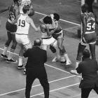 Larry Siegried (left) and Wally Jones (right) wrestle each other during a Nov. 1969 game. The dispute was quickly resolved without the ejection of either player.