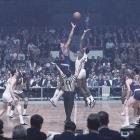 Wilt Chamberlain and Bill Russell take a jumpball at the start of Game 4 of the 1967 Eastern Division Conference Finals.  Chamberlain would go on to lead the 76ers past the Celtics in five games before claiming the NBA Title for Philadelphia by defeating the San Francisco Warriors in the in six games.