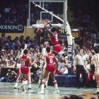Darryl Dawkins #53 dunks on the Celtics defense during a 1980 playoff game.  Dawkins Averaged 17.3 points and 7.6 rebounds per game during Philadelphia's run at the 1980 NBA Championship title.