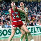 Bobby Jones boxes out Kevin McHale during a 1980 regular season game at the Boston Garden. Jones played two seasons for the Denver Nuggets in the ABA before the 1976 merger and two more years with Denver before finishing out the last eight years of his career in Philadelphia.