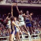 Paul Silas shoots a runner in traffic during a 1974 regular season game. Silas was a force on the boards averaging no fewer than 11 rebounds per game in any of his four seasons with the Celtics.