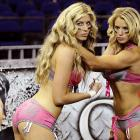 Underwear season is open, too. Natalie Jahnke (left) and Liz Gorman of the LFL's Eastern Conference All-Stars worked out in Mexico City before taking on their counterparts from the West in the Bloomer Bowl.