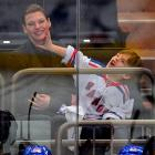 The Canadian model and her son went to a New York Rangers playoff game at Madison Square Garden and a fight broke out.