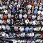 Fans watch the race during the 96th running of the Indianapolis 500.