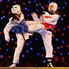Hatice Kubra Yangin of Turkey spars Ana Zaninovic of Croatia in the 53kg Final during the European Taekwondo Championships in Manchester, England.