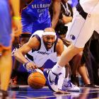 Vince Carter of the Dallas Mavericks chases a ball during a playoff game against the Oklahoma City Thunder.