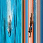 Using a digital FinishLynx camera that captures an image at a rate of several thousand one-pixel lines per second, SI photographed these dives at the 2012 AT&T USA Diving Grand Prix held in Fort Lauderdale. On the left is a competitor in the men's 10-meter platform final, and on the right is a competitor in the women's 3-meter springboard synchronized final.