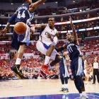 Dante Cunningham (44) and Mike Conley defend the lane during Game 6 of their series against the Los Angeles Clippers.