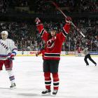 The Devils' first playoff series victory over the Rangers was a four-game sweep after a dramatic ascension in the regular season standings that saw New Jersey rise from the wrong side of the playoff bubble to the top of the Atlantic on the final day of the regular season and finish one point ahead of the Rangers for the division title.
