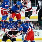 """The season series had been notable for its fights at the start of games and tensions erupted yet again in the final regular-season meeting between the Atlantic Division rivals on March 19, 2012. Devils coach Pete DeBoer put enforcers Cam Janssen, Eric Boulton and Ryan Carter in his starting lineup, and the Rangers' John Tortorella countered with Brandon Prust, Mike Rupp and Stu Bickel. Naturally, a line brawl ensued and it was followed by a war of words between the coaches in which Tortorella tartly advised DeBoer to """"shut up."""""""