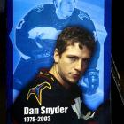 The 25-year-old Atlanta Thrashers forward was killed when a speeding car driven by teammate Dany Heatley went out of control near Atlanta, spun off the road and crashed into a brick-and-iron fence. Snyder was ejected from the passenger seat as the car was torn in half. Heatley was charged with vehicular homicide, but later forgiven by Snyder's family.