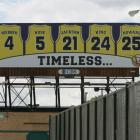 Fifteen years after becoming the first all-freshman starting five to reach the NCAA Final Four, former University of Michigan basketball player Jalen Rose (jersey second from the left) purchased this billboard in Detroit in September 2007 to honor the Fab Five's accomplishments. As part of the self-imposed sanctions due to later-discovered NCAA violations, in November 2002 Michigan removed banners associated with the team from Crisler Arena, where the Wolverines play. No mention of the Fab Five exists there today.