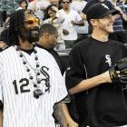The hirsute hip hop impresario joined the Chicago White Sox pitching staff for a game against the Minnesota Twins at U.S. Cellular Field in Chicago.