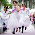 Brides with cold feet flee the altar in Leiden, Netherlands, as part of a running contest organized by the Dutch magazine Flair. The winner got a honeymoon package to Turkey.