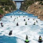 Living history: Like the minions of Periander, the tyrant of Corinth, way back in 602 BC, athletes from 15 countries thumbed their noses at Poseidon's wish that the Aegean and the Adriatic not be joined, defiantly riding jet skis on the Corinth Canal in Peloponnese, Greece.