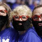 Taking a page from the NHL stylebook, these presumably of sound mind folks tried to emulate guard James Harden before Game 4 of the NBA Western Conference final in Oklahoma City.