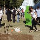 Mrs. Brady grabbed her trusty shovel to celebrate World Environment Day in Rio de Janeiro.