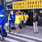 The extraterrestrial contingent from Sweden dramatically arrived in Kiev for the Euro 2012 tournament.