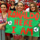 The woman of his dreams no doubt, at the National Stadium in Warsaw.