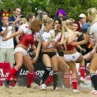 Thespians from the adult film industry got their kicks in Berlin on June 16 before the Euro 2012 Group B match between Germany and Denmark.