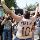 A protester aired her views at Fan Zone in Kiev.