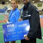 Jones poses with Terrence Trammell after the two were named the Visa Championship Series athletes of the meet in the USA Track & Field Indoor Championships. Jones won the 60m hurdles with a time of 7.88.
