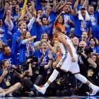 Russell Westbrook and the Oklahoma City crowd were ecstatic in the series opener. Game 2 is Thursday night.