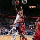 Shane Battier tries in vain to stop Kevin Durant, who made 12 of his 20 attempts and hit eight of nine free throws.