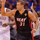 Shane Battier nailed five of his seven three-point attempts in Game 2 and has made nine of 13 overall.