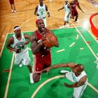 James scored 45 points and Paul Pierce countered with 41 in a memorable Game 7 duel. Pierce's Celtics edged James' Cavaliers 97-82.